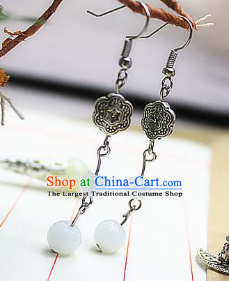 Asian Chinese Traditional Jewelry Accessories Hanfu White Beads Earrings for Women