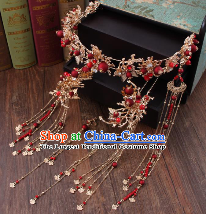Chinese Ancient Bride Hair Accessories Classical Hair Clasp Hanfu Handmade Hairpins for Women