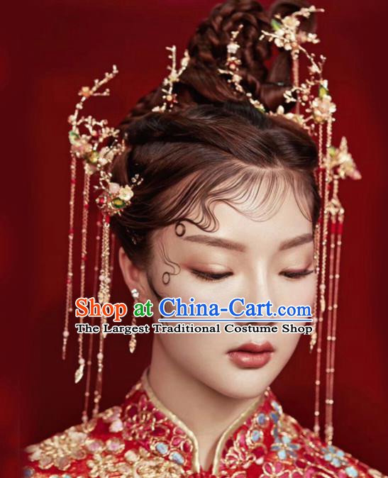 Chinese Ancient Bride Hair Accessories XiuHe Suit Hanfu Handmade Hairpins for Women