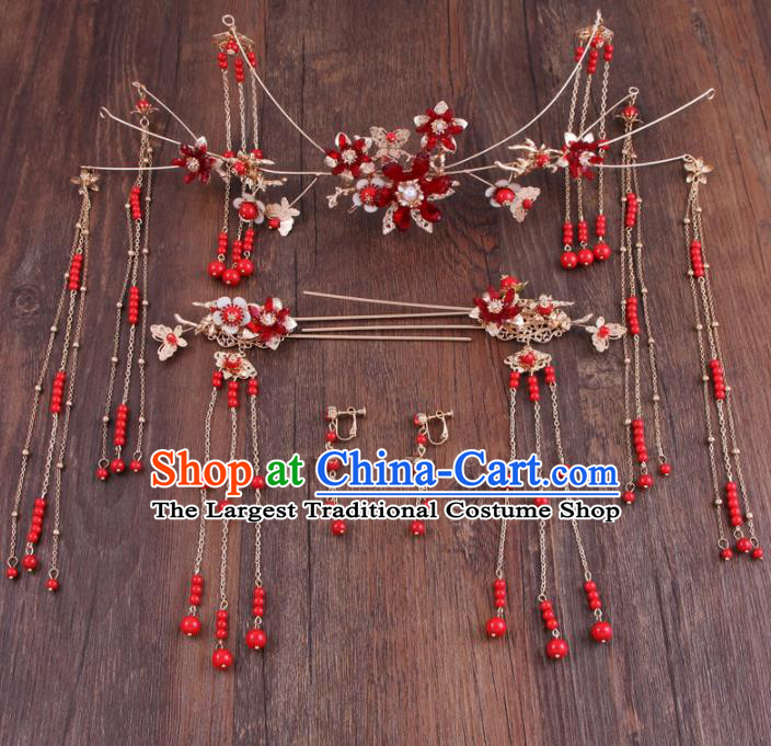 Chinese Ancient Bride Hair Accessories XiuHe Suit Hair Crown Hanfu Handmade Hairpins for Women