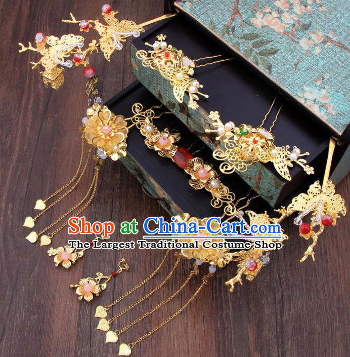 Chinese Ancient Bride Hair Accessories XiuHe Suit Tassel Golden Hair Clips Hanfu Handmade Hairpins for Women