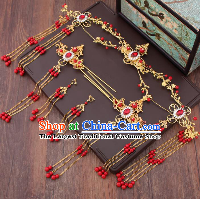 Chinese Ancient Bride Hair Accessories XiuHe Suit Crystal Phoenix Coronet Hanfu Handmade Hairpins for Women