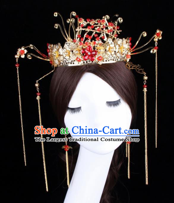 Chinese Ancient Bride XiuHe Suit Phoenix Coronet Hair Accessories Hanfu Handmade Hairpins Complete Set for Women