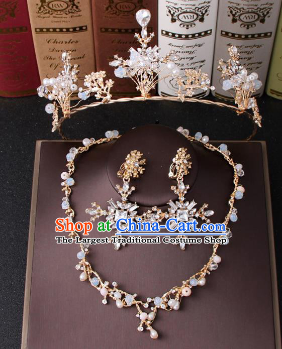 Top Grade Bride Hair Accessories Wedding Crystal Royal Crown and Earrings for Women