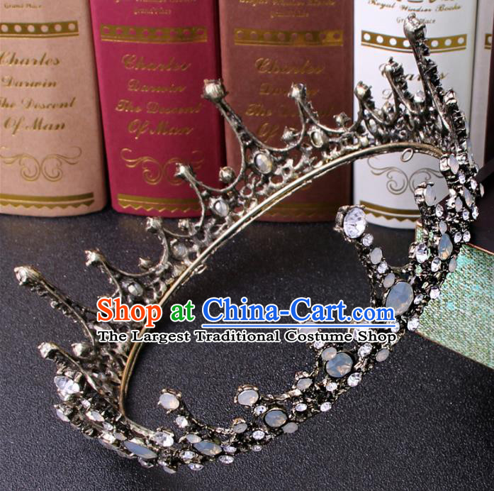 Top Grade Bride Hair Accessories Wedding Baroque Queen Black Royal Crown for Women