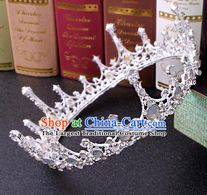 Top Grade Bride Hair Accessories Wedding Baroque Queen White Royal Crown for Women