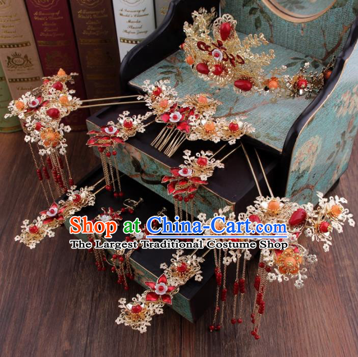 Chinese Handmade Ancient Bride Hair Accessories XiuHe Suit Phoenix Coronet Hanfu Hairpins for Women