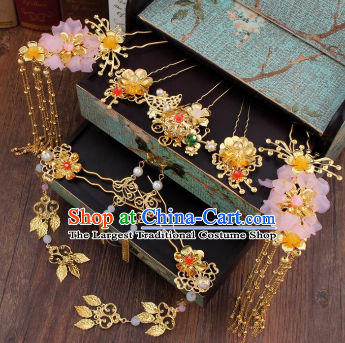Chinese Handmade Ancient Bride Hair Accessories XiuHe Suit Hair Clips Hanfu Hairpins for Women