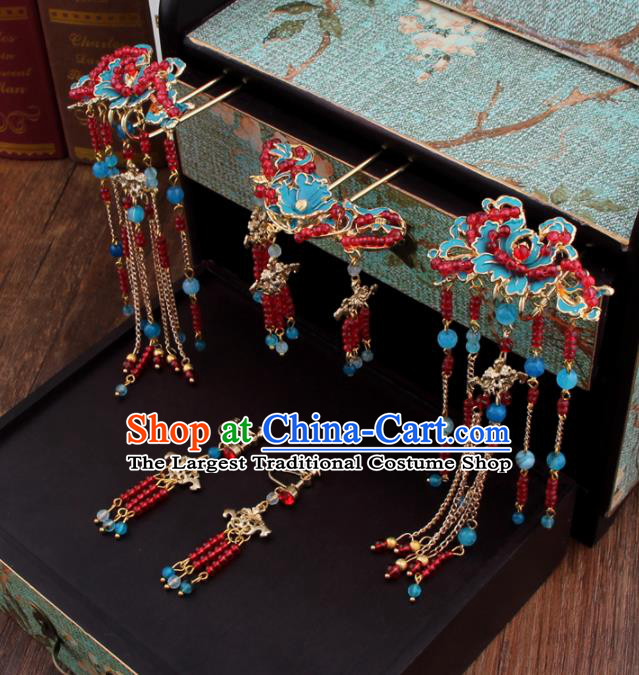 Chinese Handmade Ancient Hair Accessories Bride XiuHe Suit Hair Clips Hanfu Hairpins for Women