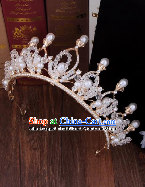 Top Grade Bride Hair Accessories Wedding Baroque Queen Beads Royal Crown for Women
