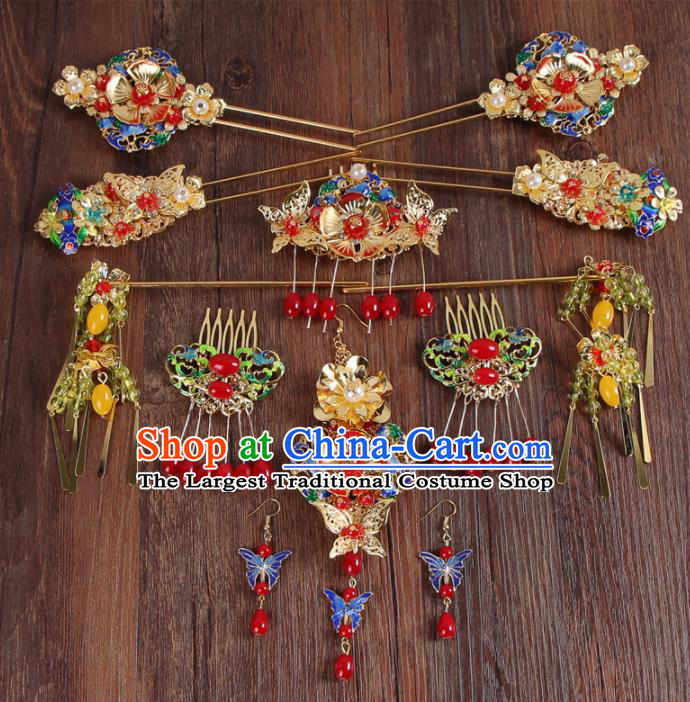 Chinese Ancient XiuHe Suit Cloisonne Hair Accessories Bride Handmade Hairpins Complete Set for Women
