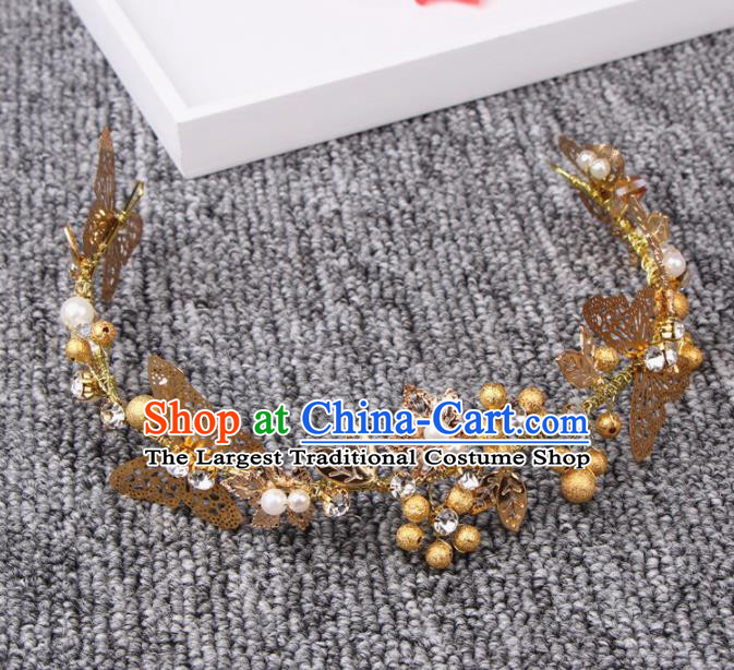 Top Grade Bride Hair Accessories Wedding Golden Butterfly Hair Clasp for Women