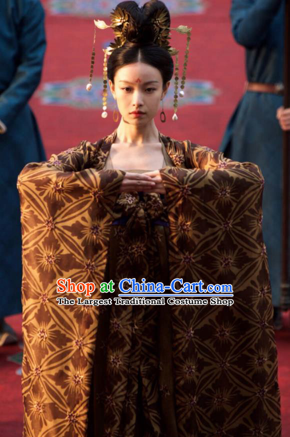 Ancient Drama The Rise of Phoenixes Queen Hanfu Dress Chinese Tang Dynasty Empress Costumes and Headpiece for Women
