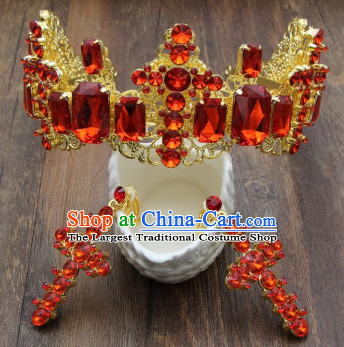 Top Grade Bride Hair Accessories Wedding Red Crystal Royal Crown and Earrings for Women