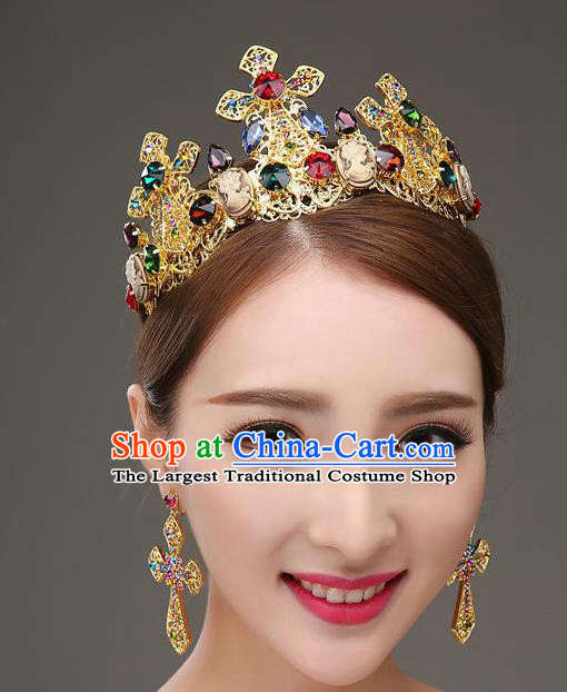 Top Grade Bride Hair Accessories Wedding Colorful Crystal Royal Crown and Earrings for Women