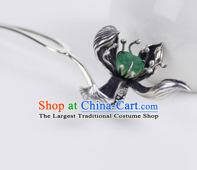 Chinese Ancient Handmade Sliver Lotus Hairpins Hair Accessories Hair Clips for Women