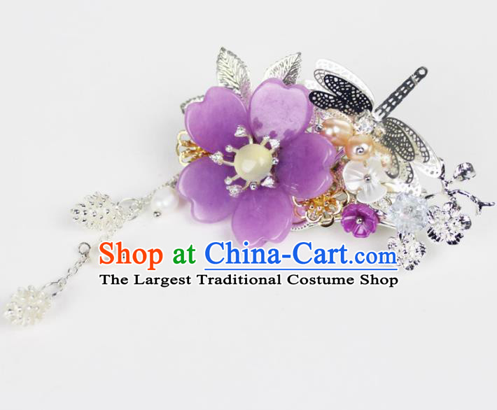 Chinese Ancient Handmade Palace Hairpins Hair Accessories Purple Flower Hair Claws for Women