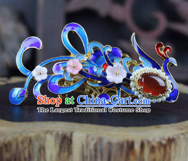 Chinese Ancient Handmade Palace Hanfu Hairpins Hair Accessories Blueing Phoenix Hair Comb for Women