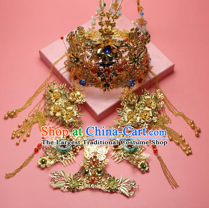 Chinese Ancient XiuHe Suit Handmade Phoenix Coronet Hairpins Hair Accessories Complete Set for Women