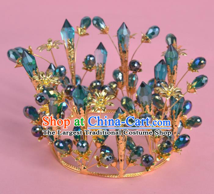 Top Grade Bride Hair Accessories Wedding Green Crystal Royal Crown for Women