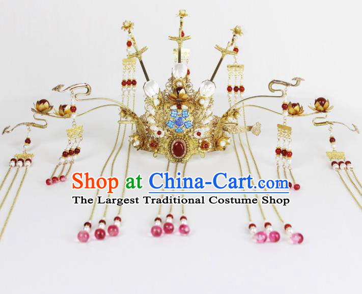 Chinese Ancient Handmade Hanfu Queen Phoenix Coronet Hairpins Hair Accessories for Women