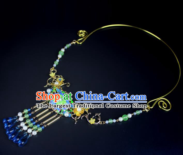 Top Grade Chinese Jewelry Accessories Wedding Hanfu Blueing Necklace for Women