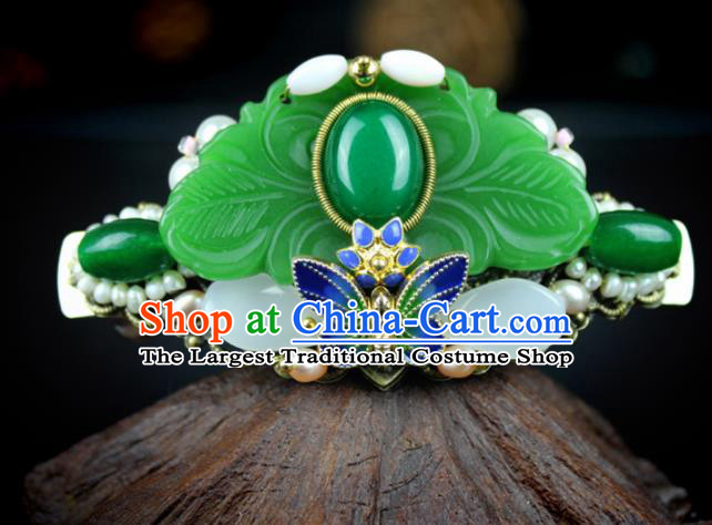Chinese Ancient Handmade Hanfu Hair Clip Jade Butterfly Hair Crown Hairpins Hair Accessories for Women