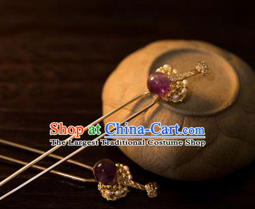 Chinese Ancient Handmade Hanfu Amethyst Hairpins Hair Accessories for Women