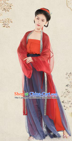 Top Grade Chinese Ancient Costumes Song Dynasty Young Lady Hanfu Dress for Women
