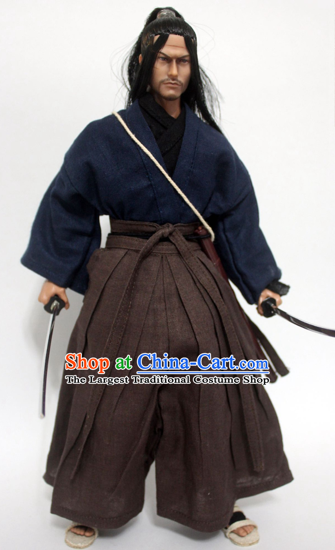 Ancient Japanese Warrior Costume Samurai Costumes Mitamoto Musashi Costume Kimono Clothing Complete Set