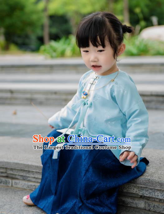 Traditional Chinese Ancient Costumes Blue Blouse and Skirt Ming Dynasty Princess Hanfu Dress for Kids