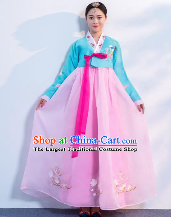 Asian Korean Traditional Costumes Korean Hanbok Blue Embroidered Blouse and Pink Skirt for Women