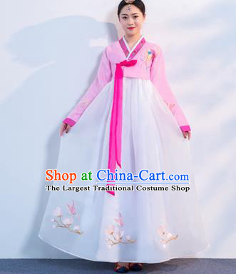 Asian Korean Traditional Costumes Korean Hanbok Pink Embroidered Blouse and White Skirt for Women