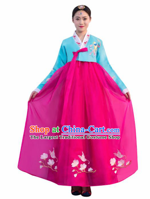 Asian Korean Traditional Costumes Korean Hanbok Blue Embroidered Blouse and Rosy Skirt for Women