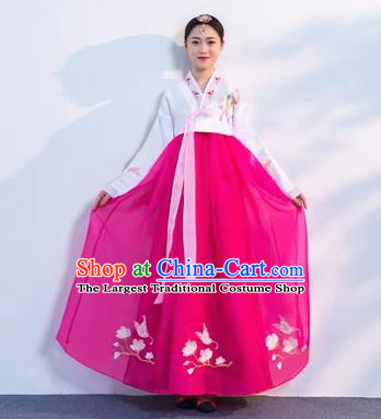 Asian Korean Traditional Costumes Korean Hanbok White Embroidered Blouse and Rosy Skirt for Women