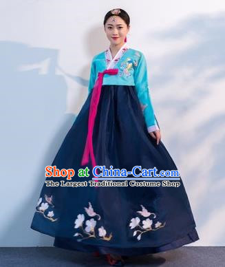 Asian Korean Traditional Costumes Korean Hanbok Blue Embroidered Blouse and Navy Skirt for Women