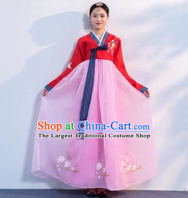 Asian Korean Traditional Costumes Korean Hanbok Red Embroidered Blouse and Pink Skirt for Women
