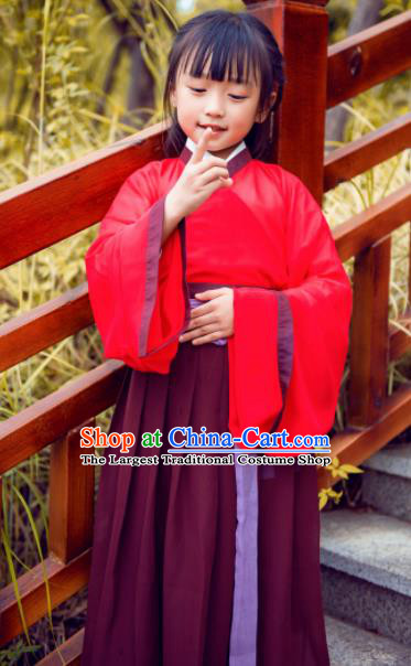 Chinese Ancient Palace Lady Hanfu Han Dynasty Imperial Concubine Queen Embroidered Costumes for Kids