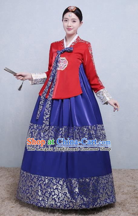 Asian Korean Traditional Costumes Korean Palace Hanbok Embroidered Red Blouse and Blue Skirt for Women