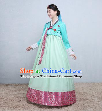 Asian Korean Traditional Costumes Korean Palace Hanbok Embroidered Blue Blouse and Green Skirt for Women