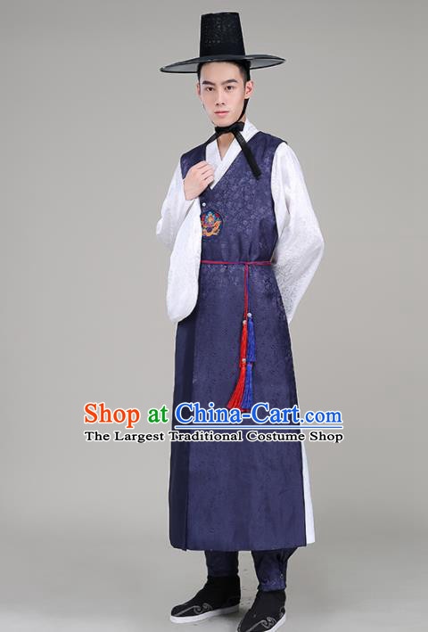 Asian Korean Traditional Costumes Korean Palace Navy Hanbok Embroidered Clothing for Men
