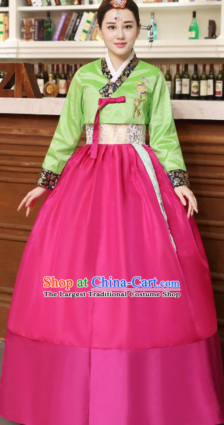 Korean Traditional Costumes Asian Korean Hanbok Palace Bride Embroidered Green Blouse and Rosy Skirt for Women