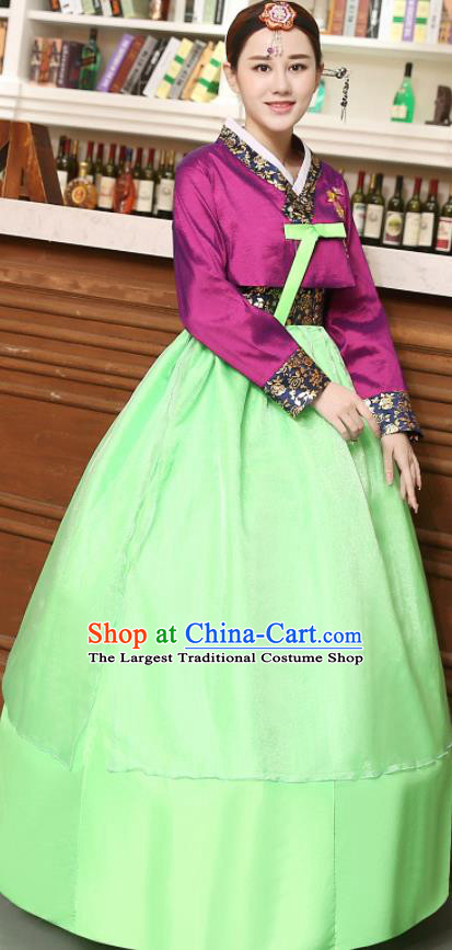 Korean Traditional Costumes Asian Korean Hanbok Palace Bride Embroidered Purple Blouse and Green Skirt for Women