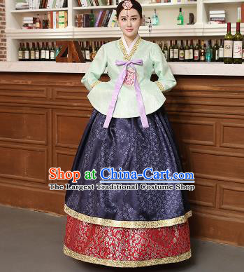 Korean Traditional Costumes Asian Korean Hanbok Palace Bride Embroidered Green Blouse and Navy Skirt for Women