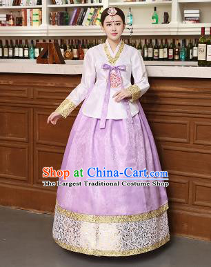 Korean Traditional Costumes Asian Korean Hanbok Palace Bride Embroidered White Blouse and Lilac Skirt for Women