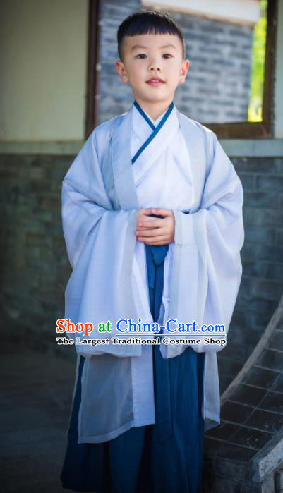 Traditional Chinese Ancient Scholar Costumes Han Dynasty Clothing for Kids