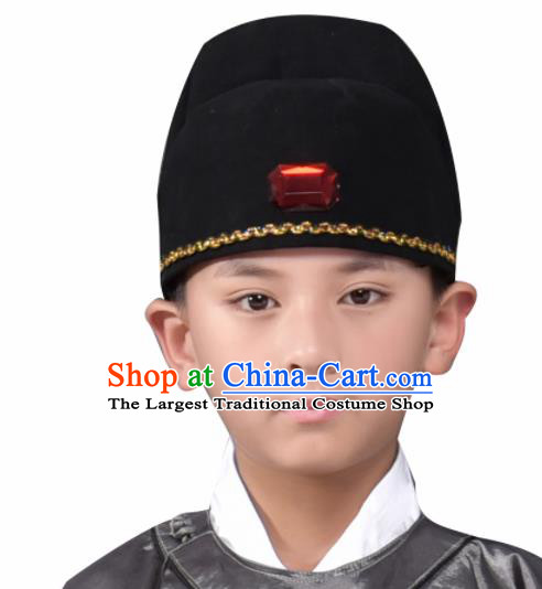 Traditional Chinese Ancient Scholar Hat Han Dynasty Headwear for Kids