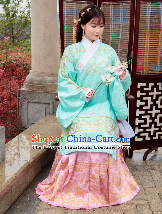 Traditional Chinese Ancient Ming Dynasty Palace Princess Costumes Green Cloak and Pink Skirt for Women