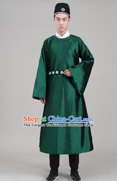 Traditional Chinese Ancient Tang Dynasty Swordsman Costume Officials Green Robe for Men