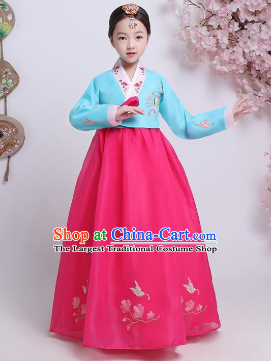 Asian Korean Traditional Costumes Korean Hanbok Blue Blouse and Rosy Skirt for Kids